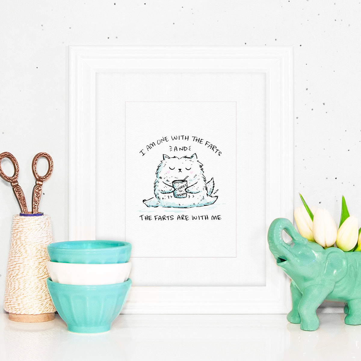 I Am One With The Farts And The Farts Are With Me - Print with a drawing of a cat eating ice cream and farting. Lactard.