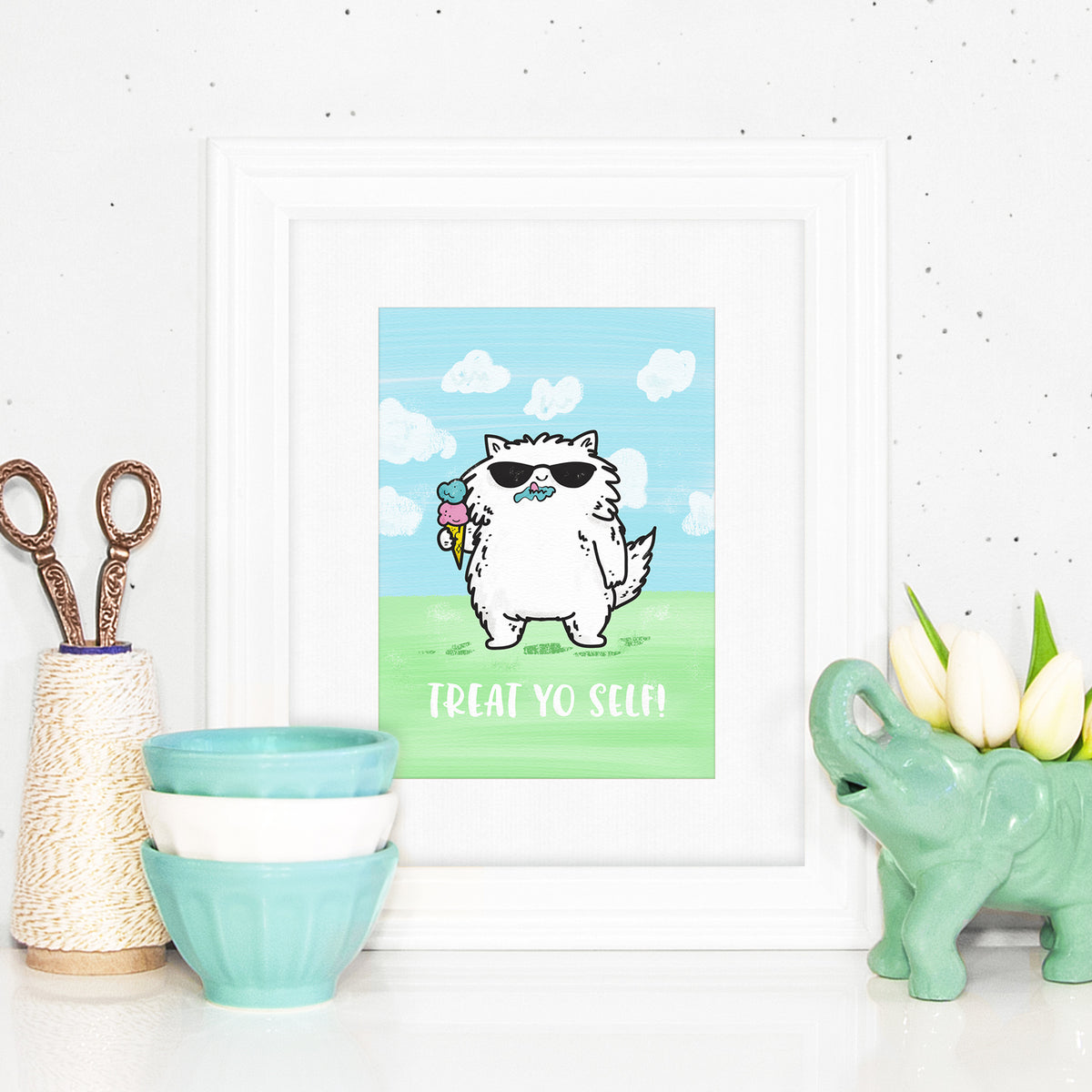 Treat Yo Self! ~ Ice cream cool cat art print by My Cat Is People.