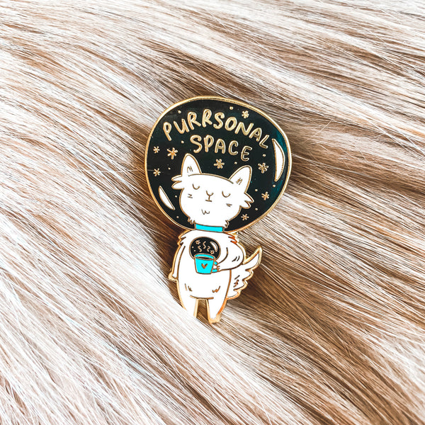 Purrsonal Space (Tea/Coffee) ~ Enamel Pin