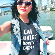 Cat Hair Don't Care! - Screen printed muscle tank top for people who love and live with cats by My Cat Is People.