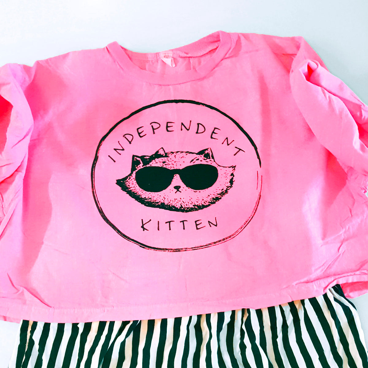 Independent Kitten ~ Boxy Neon Crop Top Tee