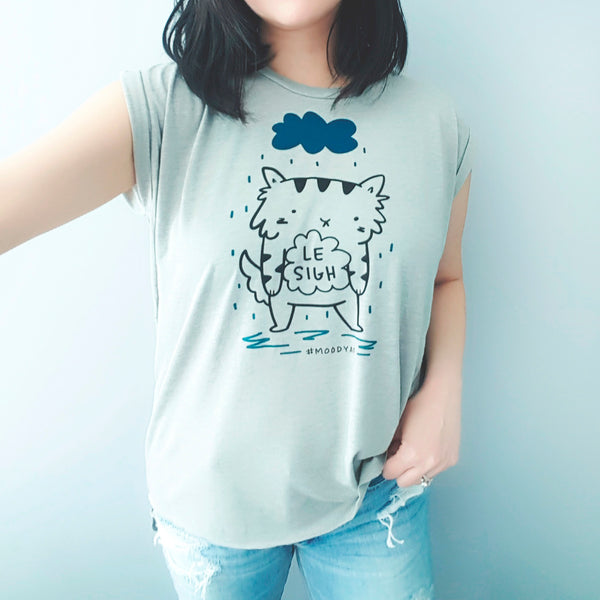 Le Sigh - Two-colour cat and rain cloud screen printed flowy tee by My Cat Is People