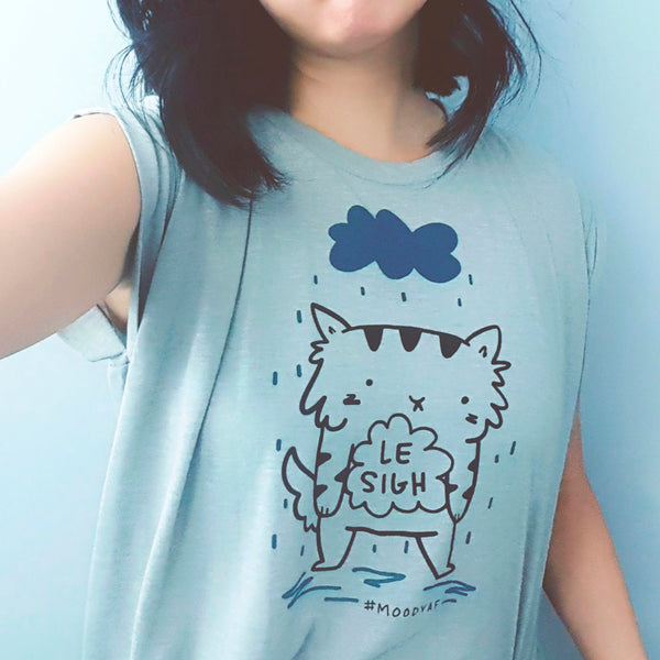 Le Sigh - Two-colour sad cat screen printed flowy tee by My Cat Is People