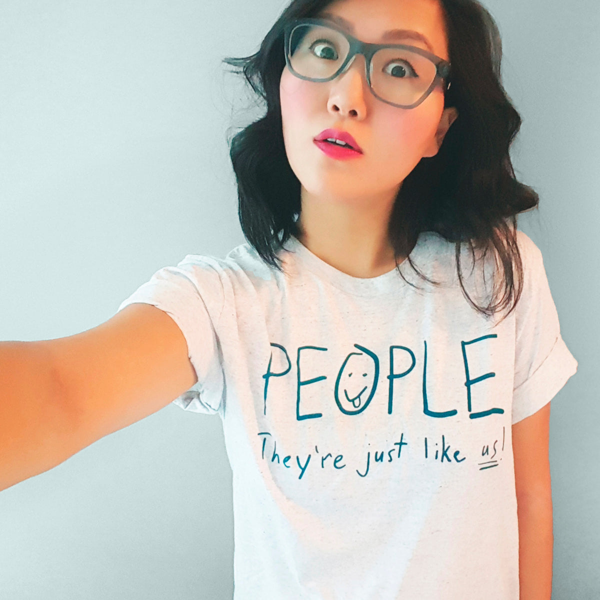 People. They're just like us! ~ Screen printed t-shirt by My Cat Is People.