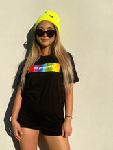 """BE PRESENT"" Classic Box Logo in Tie Dye Rainbow Tee in Black"