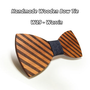 Striped Wood Bow Tie