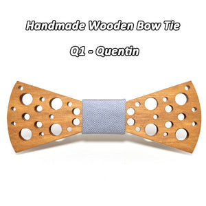 Handmade Dot Wooden Bow Tie