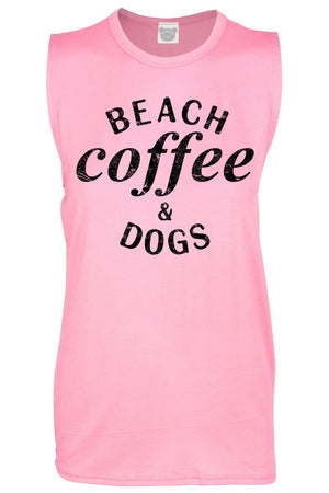 Tank Top Beach Coffee Dogs Design Muscle