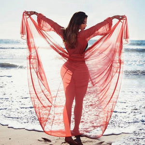 Fancinating Long Sleeve Mesh Bikini Chiffon