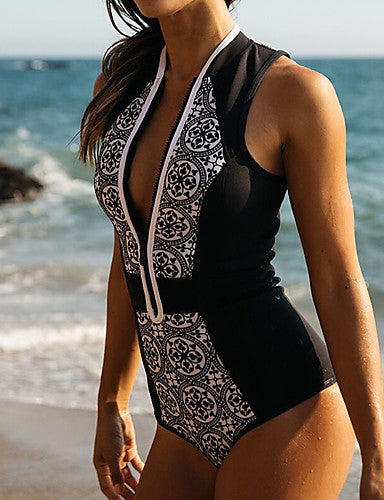 Plunging Neck One-piece Swimsuit