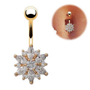 White Crystal Belly Button Ring