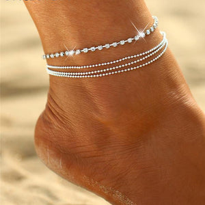 Silver Iced Out Anklet