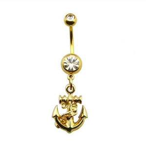 Golden Anchor Belly Button Ring