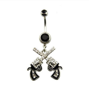 Double Revolver Belly Button Ring