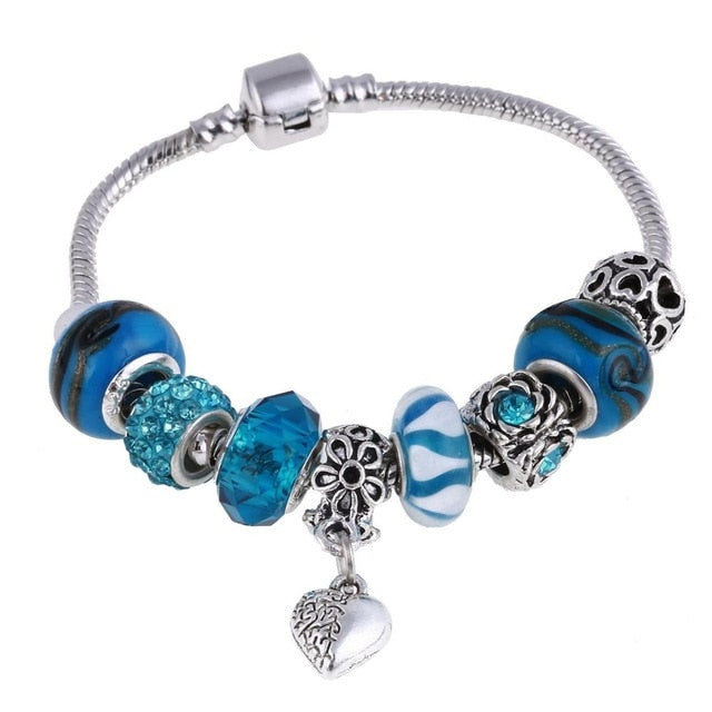Customizable Charm Silver Bracelet