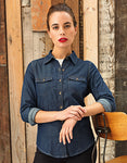 Ladies Jeans Stitch Denim Shirt- outdoorchamp