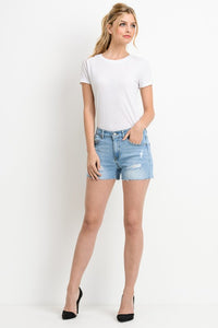 Light Wash Midrise Distressed Shorts