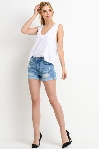 Light Wash Mid Rise Distressed Cuffed Shorts