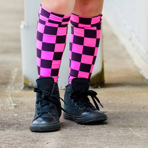 Hot Pink Checked Knee Socks