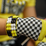 Checkerboard Kids Gloves Yellow Lime Black Pink