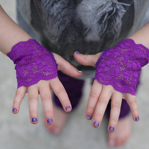 Girls  Long Purple Lace Fingerless Gloves Toddler Baby Girl Sizes
