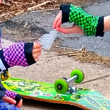 Checkerboard Kids Gloves Pink or Lime Green