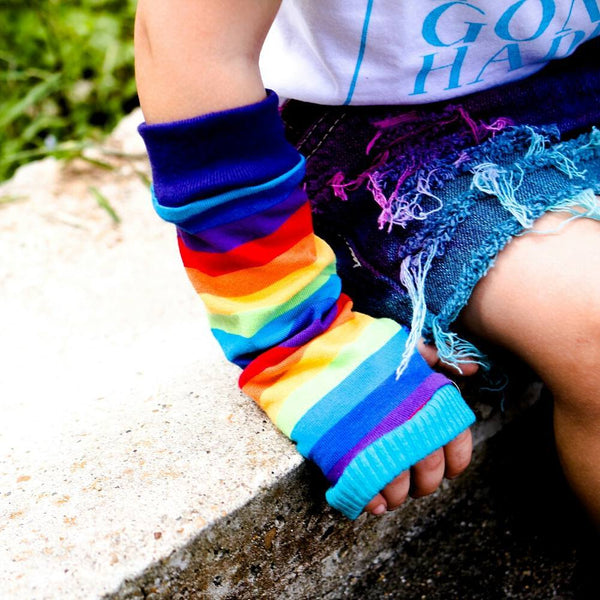 Rainbow Stripe Arm Warmers for Kids - Steampunk-Wolf-Kidz