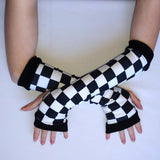 Checkered Arm Warmers Gloves Kids Adults