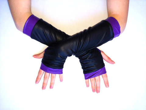 Mal Black and Purple Arm Warmers Vegan Leather Long Gloves for Kids and Adults