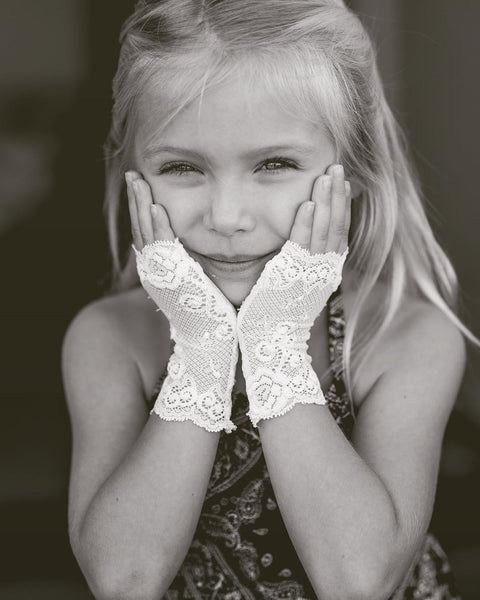 Girl's White Lace Gloves - Steampunk-Wolf-Kidz