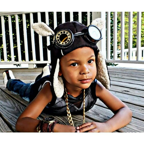 Animal Ear Pilot Hats with Steampunk Goggles