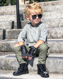 Vegan Leather Black Playground Gloves Kids Adults Trim Color Options