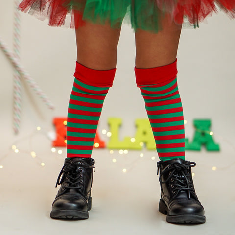 Elf Knee Socks Kids Red Green Christmas Holiday
