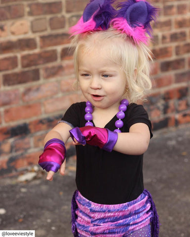Rockstar Babe Pink Purple Fingerless Gloves