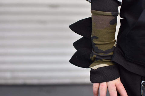 Camo Spiked Sleeves Arm Warmers Dino Dragon