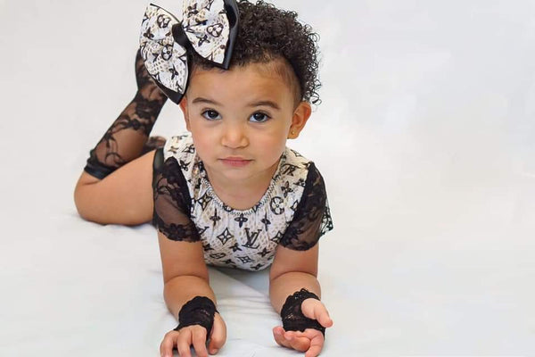 Black Lace and Leather Knee High Socks Baby Toddler Girl