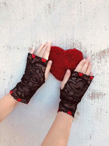 Queen of Hearts ❤ lace fingerless gloves for girls adults Red Queen
