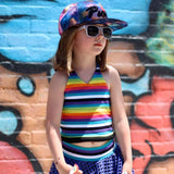 Rainbow Stripes Halter for Girls  Cover Up Neons Black