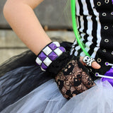 Black Skull Mesh Lace Gloves for kids and Adults