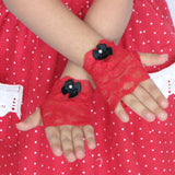 Red lace fingerless gloves for girls toddlers Valentines Day Christmas Weddings