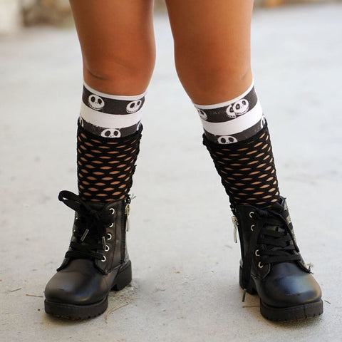 Skull Stripes Mesh Knee High Socks Baby Toddler Girl