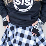 Checkered Gloves for kids Monochrome Fashion
