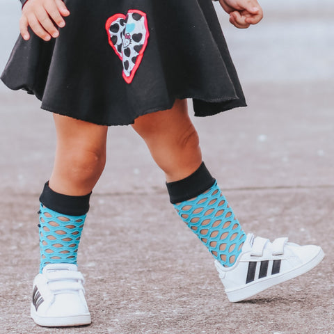 Turquoise Blue Mesh Knee High Socks Baby Toddler Girl