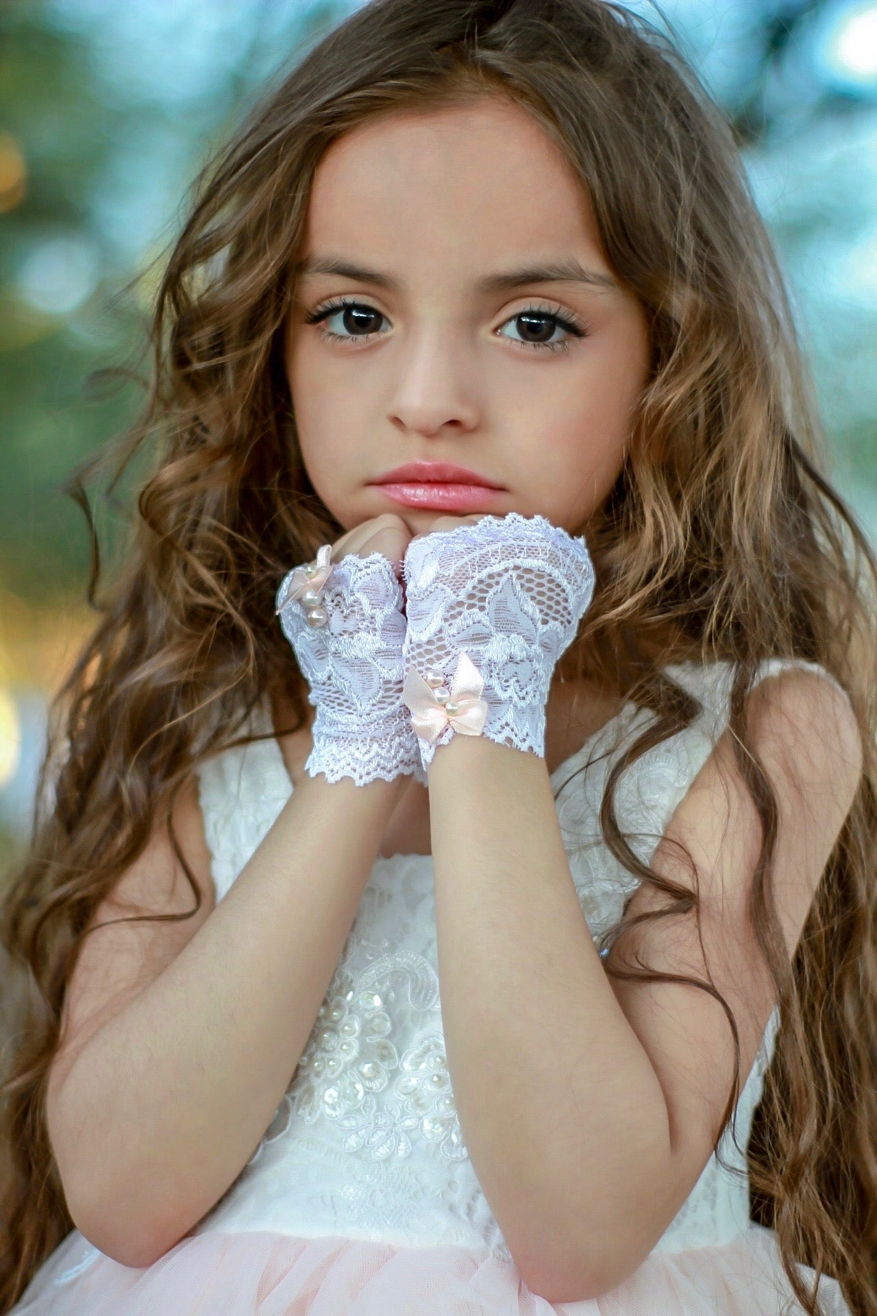 Lace and Pearls Girls Fingerless Gloves - Steampunk-Wolf-Kidz