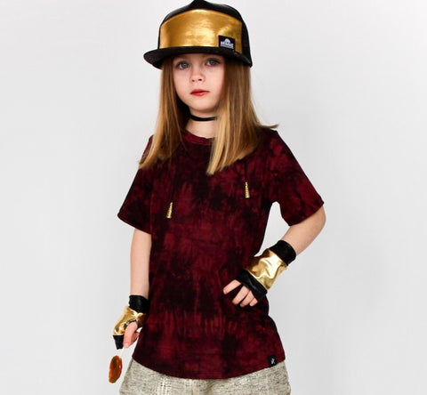Gold  Rockstar Vegan Leather Fingerless Gloves for Kids Adults