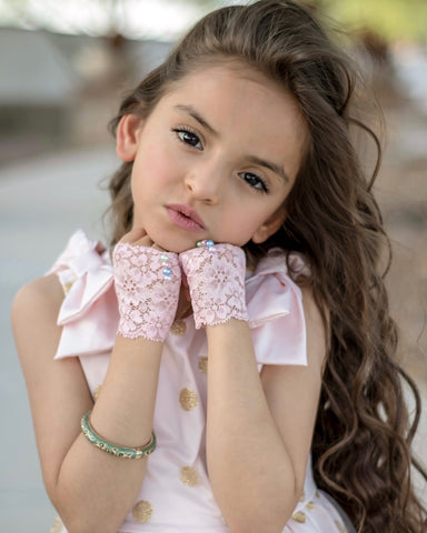 GIRLS Pink Lace Fingerless Gloves with Pastel Pearls - Steampunk-Wolf-Kidz