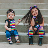 Rainbow Kids Stripe Knee Socks crew socks