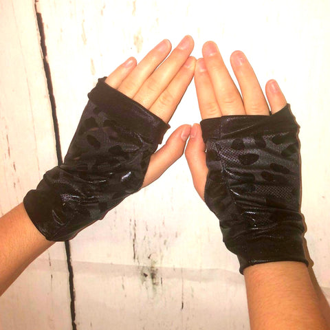 Black Panther Fingerless Vegan Leather Gloves