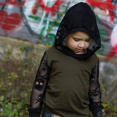 Skullicious Black Skull Mesh Hoodie Long Sleeved Top Boys Unisex Halloween