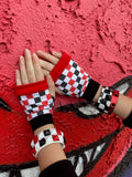 Anti-Valentine's Checkerboard Gloves in red,black and white